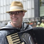 Peter performing accordion in Bryant Park, NYC